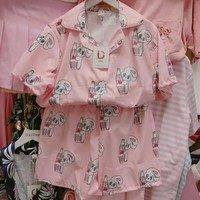 Cute Harajuku kawaii Esther Chuu Rose Bunny loves rabbit&bottle Pajamas Sets Top and Shorts girls clothing Sleeping Pajamas set