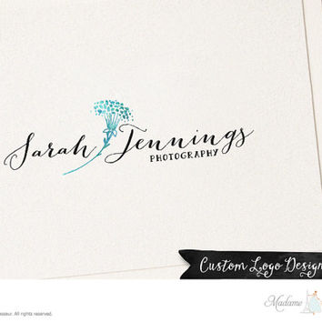 premade logo design watercolor flower logo dandelion logo photography logo website logo blog logo watermark logo business logo floral logo