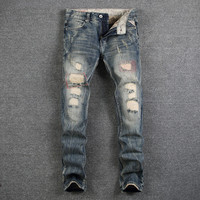Destroyed Ripped Jeans Mens Pants High Quality Slim Fit Denim Designer Men Jeans Mid Stripe Jeans Men Casual Luxury Trousers Man