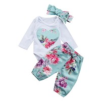 Pudcoco baby girl clothes Flower Heart Pattern Long Sleeve Romper + pants+headband 3pcs suit newborn baby girl clothing set 2017