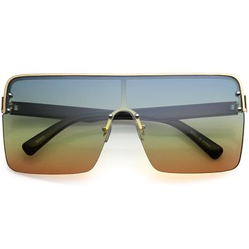 Oversize Semi Rimless Gradient Lens Shield Sunglasses D123