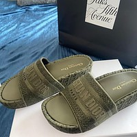 DIOR Hot Sale Embroidered Letter Platform Slippers Ladies Casual Sandals Shoes-1