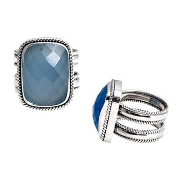 "SR-5293-CHB-5"" Sterling Silver Ring With Chalcedony Q."