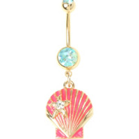 14G Steel Pink And Gold Seashell Navel Barbell