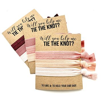 Will you help me tie the knot bridesmaid proposal hair tie favors, maid of honor, flower girl gift