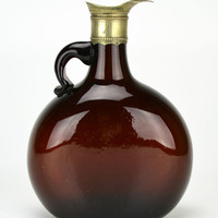 Brown Glass Whisky Flask Decanter Antique English 19th Century