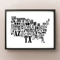 US Stylish State Code Typography Map Print