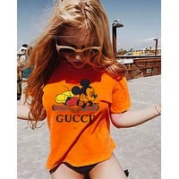 Gucci Fashion Women Man Print Mickey Mouse Tee Shirt Top Orange