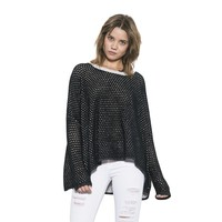 Womens Light Grey/Black Ema Reversible Pullover Sweater By One Grey Day