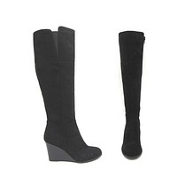 Bassett Faux Suede Knee High Wedge Boots