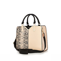 River Island Womens Beige snake print structure tote bag