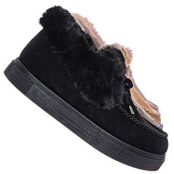 Cozette05 Faux Fur Moccasin Slipper - Winter Fluffy Cozy Ankle Slip On Boots