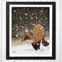 Sneaky smart fox snowy winter forest art home decor print  INSTANT DOWNLOAD