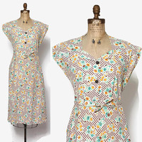 Vintage 30s Day DRESS / 1930s Floral Print Cotton Dress