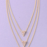 Triple Chain Rhinestone Triangles Necklace - Gold or Silver
