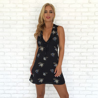 Midnight in the Fields Satin Floral Dress