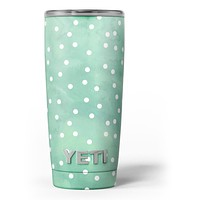 Green Watercolor and Whtie Polka Dots - Skin Decal Vinyl Wrap Kit compatible with the Yeti Rambler Cooler Tumbler Cups