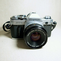 VINTAGE CANNON SLR Film Camera At-1 Made in Japan with 50 mm Lens and Neck Strap Mid Century 35 mm Japanese Film Camera