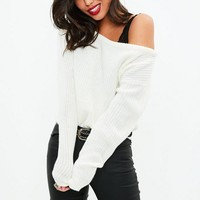 Missguided - White Crop Off Shoulder Sweater