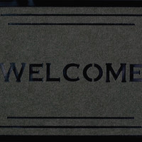 """Welcome Fleur Grey Carved Mat (1'8"""" x 2'8"""")"""