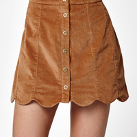 Kendall and Kylie Corduroy Scallop Hem Skirt at PacSun.com