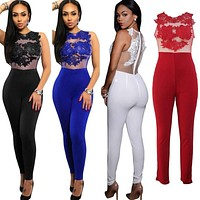 5 Style hot sale new arrival plus size women jumpsuit and rompers for women Appliques patchwork slim bodycon jumpsuit sexy overa