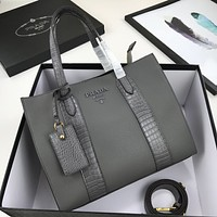 prada women leather shoulder bag satchel tote bag handbag shopping leather tote crossbody 10