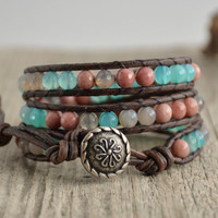 Leather wrap womens bracelet. Pastel beaded jewelry. Giftidea