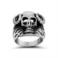 Gift New Arrival Jewelry Stylish Shiny Punk Strong Character Titanium Men Ring [6526908227]