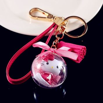 Cute Cartoon Cat Hello Kitty Doll Keychain Leather Rope Key Holder Metal Key Chain Keyring Charm Bag Auto Pendant Gifts New Arri