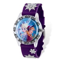 Disney Frozen Elsa & Anna Acrylic Purple Time Teacher Watch