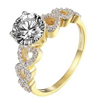 Solitaire Round Brilliant Ring Heart Link Women 925 Silver Gold Tone Wedding New
