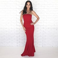 Perfect Opportunity Red Ruffle Maxi