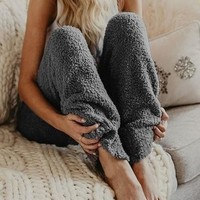 Dark Grey High Waisted Faux Fur Oversize Loose Casual Pants