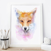 Fox Print Watercolor Painting Printable, Children's Wall Art, nursery decor, animal, DIY print 8x10 Instant download