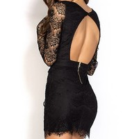 Kerry Black Open Back Plunging Long Sleeve Lace Dress