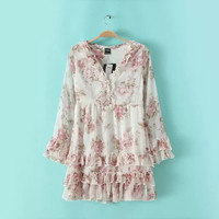 White Floral Print Chiffon Ruffles Mini Dress