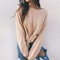 Knitted lace up sweater