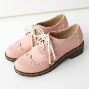 Plus Size Retro Preppy Girls Low Heels Brogues Oxford Womens Lace Up Cute Shoes