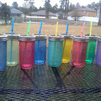 12oz Quilted Ball Mason Jar Sippy Cup - CHOOSE YOUR COLOR -  Bachelorette Party - Baby Showers - Weddings Welcome