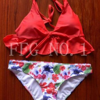 style sexy bra high neck bikini set print women swimwear bikinis crop top biquini swimsuit bathing suit k115 J4U66