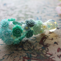 Hand Designed Glass Pipe with Resin Flowers