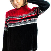 Vintage 90's Black and White and Red Allover Pullover - XS/S