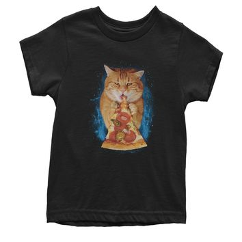 Cat Eating Pizza Youth T-shirt