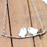 Silver Birds On A Branch Necklace