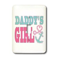 3dRose lsp_165879_1 Daddys Girl Cute Anchor and Heart Rope Pink and Aqua Light Switch Cover