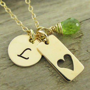 Gold Personalized Initial Necklace, Gold Filled Gemstone Custom Jewelry, Heart Charm Necklace, Monogram Necklace, Graduation Gift