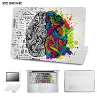 5 in 1 Bundle Hard Case for Apple Macbook Air/Pro 11 12 15 Retina Printing Brain  Pattern Laptop Cover With Keyboard Sticker