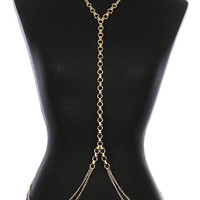 """18"""" gold double link necklace swimsuit bra jewelry body chain armor"""