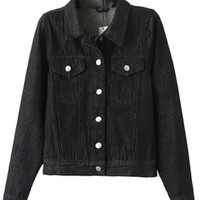 Black Washed Denim Button Down Cropped Moto Jacket